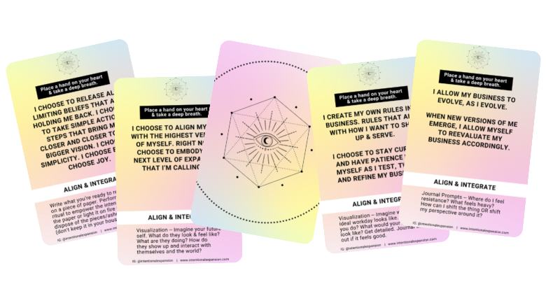 Intention Expansion Affirmation Card Deck for Business Owners - Cards fanned out for header image